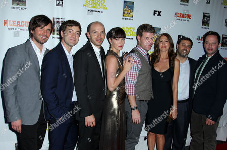 """From left, Jon Lajoie, Mark Duplass, Paul Scheer, Katie Aselton, Stephen Rannazzisi, Jackie Schaffer, Jeff Schaffer, and Nick Kroll, from """"The League"""", pose together at the premiere screenings of FX's """"It's Always Sunny in Philadelphia"""" season 8 and """"The League"""" season 4, in Los Angeles"""