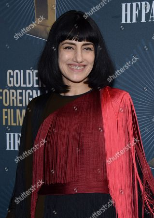 Actress and Director Ronit Elkabetz arrives at Golden Globes Foreign Language Symposium at Egyptian Theatre, in Hollywood, California