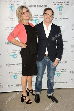 Kay Saatchi, left, and Matthew Rolston arrive at Helmut Newton: White Women - Sleepless Nights - Big Nudes exhibit opening at the Annenberg Space Photography on in Los Angeles