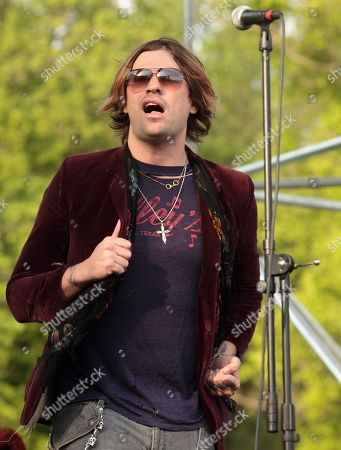 Stock Image of Austin Winkler of the rock band Hinder performs at Rockford Park, in Wilmington, Del