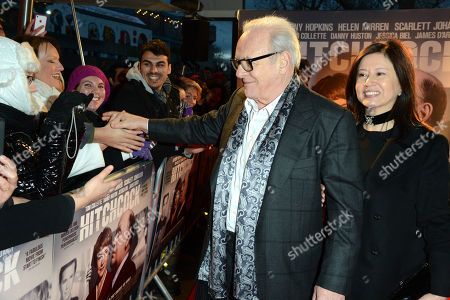 "Sir Anthony Hopkins and Stella Arroyave pose at the ""Hitchcock"" UK Premiere - Inside Arrivals at The BFI Southbank on in London"