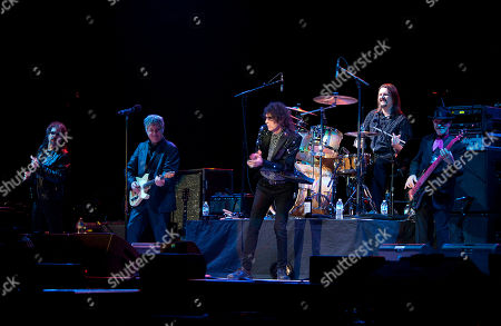 Magic Dick, Duke Levine, Peter Wolf, Tom Arey and Danny Klein of the J. Geils Band performs in concert as the band opens for Bob Seger at the Arena at Gwinnett Center, in Duluth, Ga