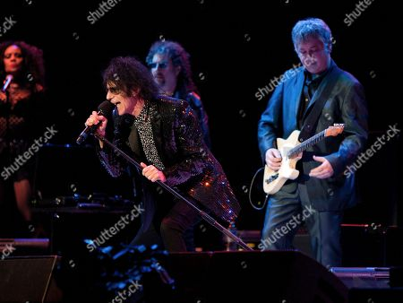 Peter Wolf, Magic Dick and Duke Levine of the J. Geils Band performs in concert as the band opens for Bob Seger at the Arena at Gwinnett Center, in Duluth, Ga