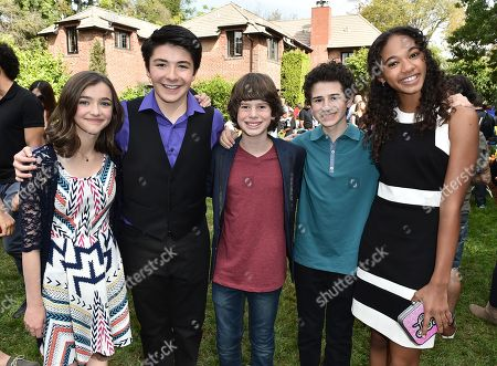 """Ashley Boettcher, from left, Sloane Morgan Siegel, Drew Justice, David Bloom and Chandler Kinney attend Just Jared Jr.'s Fall Fun Day celebrating Season 2 of Amazon Prime's """"Gortimer Gibbon's Life on Normal Street"""", in Los Angeles"""