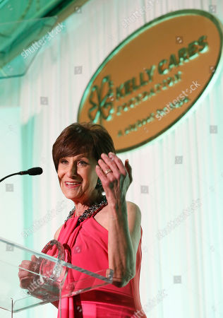 Myra Biblowit, president of the Breast Cancer Research Foundation, receives the Leadership in Health Award at the Kelly Cares Foundation's 5th Annual Irish Eyes Gala at the JW Marriot Essex House, on in New York. Established in 2008 by Notre Dame head football coach Brian Kelly and Paqui Kelly, the Kelly Cares Foundation has donated over $2 million to support causes locally, nationally and globally
