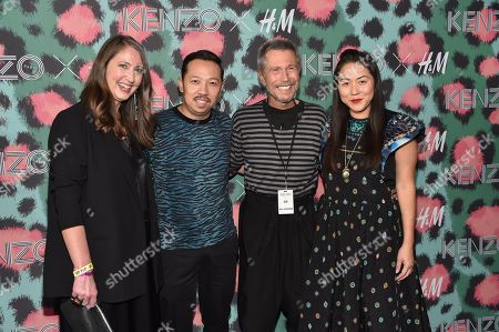 H&M design head Ann-Sofie Johansson, from left, Kenzo creative director Humberto Leon, French graphic designer Jean-Paul Goude and Kenzo creative director Carol Lim attend the Kenzo x H&M Runway Show at Pier 36, in New York