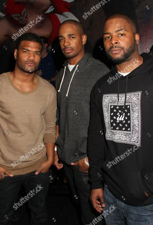 Stock Picture of L-R) Damien Dante Wayans, Damon Wayans Jr. and Craig Wayans at Kevin Hart's 1st Annual New Year's Eve 3 Day Block Party Celebrity Kick Off on Saturday, December, 29, 2012, at the Conga Room in Los Angeles, California