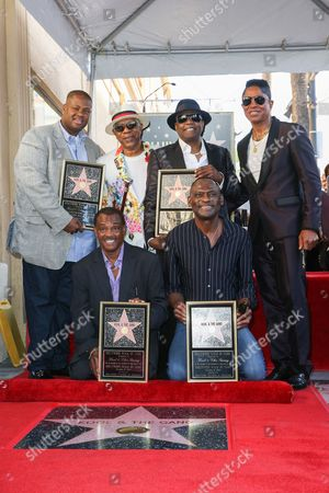 "Stock Photo of Vincent Herbert, from left, Robert ""Kool"" Bell, Dennis ""DT"" Thomas, Ronald Khalis Bell, George Brown and Jermaine Jackson attend a ceremony honoring Kool and The Gang with a star on The Hollywood Walk of Fame, in Los Angeles"