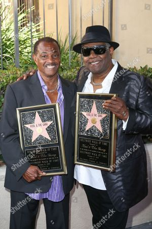 """Robert """"Kool"""" Bell, left, and Ronald Khalis Bell attend a ceremony honoring Kool and The Gang with a star on The Hollywood Walk of Fame, in Los Angeles"""