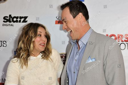 "Kaley Cuoco, left, and Chris Klein arrive at the LA Premiere of ""Authors Anonymous"", in Los Angeles"