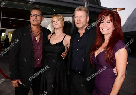 "From left to right, actor Steven Bauer, actress Melanie Griffith, actor Michael Cudlitz, and producer Suzanne DeLaurentiis arrive on the red carpet at the premiere of the feature film ""Dark Tourist"" at the ArcLight Cinemas on in Los Angeles"