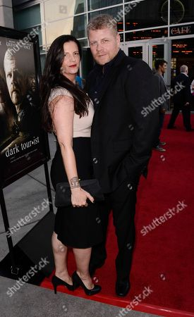 """Stock Picture of Actor Michael Cudlitz, right, and his wife Rachel Cudlitz arrive on the red carpet at the premiere of the feature film """"Dark Tourist"""" at the ArcLight Cinemas on in Los Angeles"""