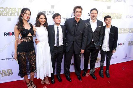 "Stock Image of Laura Lodono, from left, Claudia Traisac, Josh Hutchinson, Benicio Del Toro, Carlos Bardem and Micke Moreno arrive at the LA Premiere of ""Escobar: Paradise Lost"" at the Arclight Hollywood, in Los Angeles"