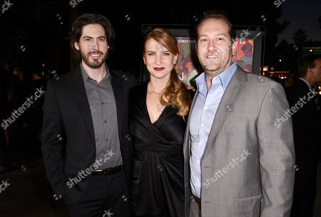 """Stock Photo of Director/co-writer/producer Jason Reitman, and from left, producer Helen Estabrook and executive producer Mason Novick arrive at the premiere of """"Men, Women & Children"""" at The Directors Guild of America, in Los Angeles"""