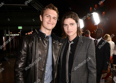 """Ansel Elgort, left, and Will Peltz arrive at the premiere of """"Men, Women & Children"""" at The Directors Guild of America, in Los Angeles"""