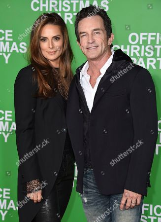 """Stock Picture of Jeff Probst, right, and Lisa Ann Russell arrive at the Los Angeles premiere of """"Office Christmas Party"""" at the Village Theatre Westwood on"""