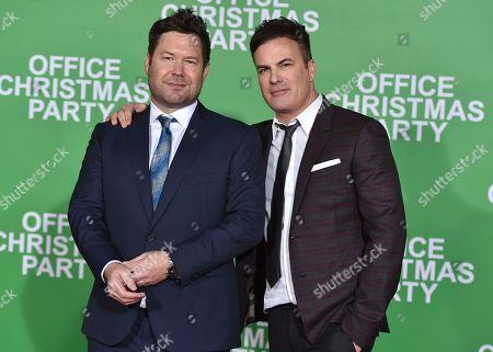 "Directors Josh Gordon, left, and Will Speck arrive at the Los Angeles premiere of ""Office Christmas Party"" at the Village Theatre Westwood on"