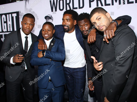 """Corey Hawkins, from left, Jason Mitchell, Marlon Yates Jr., Aldis Hodge and O'Shea Jackson Jr. arrive at the Los Angeles premiere of """"Straight Outta Compton"""" at the Microsoft Theater on"""
