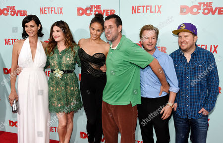 """Left to right, Catherine Bell, Kathryn Hahn, Paula Patton, Adam Sandler, David Spade and Nick Swardson, cast members in """"The Do-Over,"""" pose together at the premiere of the film at the Regal LA Live theaters, in Los Angeles"""