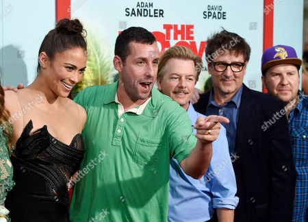 """Left to right, Paula Patton, Adam Sandler and David Spade, cast members in """"The Do-Over,"""" pose alongside the film's director Steven Brill and cast member Nick Swardson at the premiere of the film at the Regal LA Live theaters, in Los Angeles"""