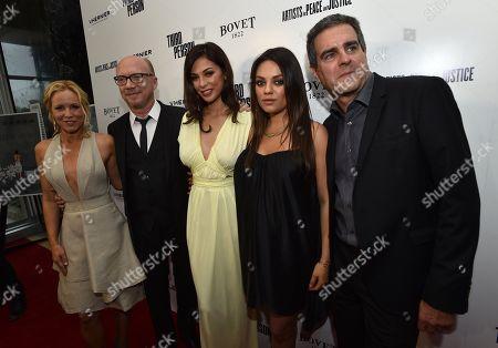 "Maria Bello, from left, Paul Haggis, Moran Atias, Mila Kunis and Michael Nozik arrive at Los Angeles Premiere of ""Third Person"", in Los Angeles"
