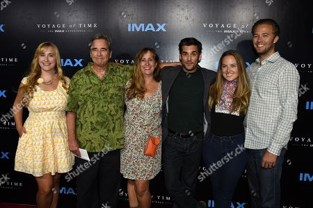 """From left, Emily Bridges, Beau Bridges, Wendy Treece, Jordan Bridges and Dylan Bridges, far right, arrive at the Los Angeles premiere of """"Voyage of Time: The IMAX Experience"""" on in Los Angeles"""