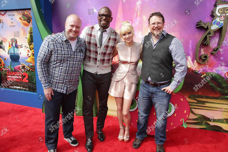 Director Cody Cameron, Terry Crews, Anna Faris and Director Kris Pearn seen on the red carpet at the Columbia Pictures and Sony Pictures Animation premiere of 'Cloudy with a Chance of Meatballs 2' held at the Regency Village Theatre on Saturday, Sept, 21, 2013 in Los Angeles