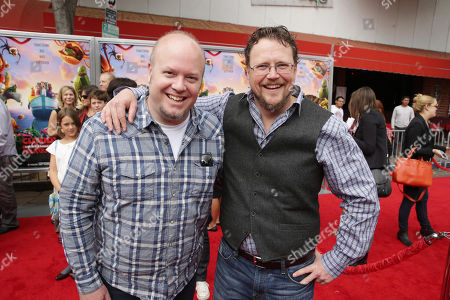 Directors Cody Cameron and Kris Pearn seen on the red carpet at the Columbia Pictures and Sony Pictures Animation premiere of 'Cloudy with a Chance of Meatballs 2' held at the Regency Village Theatre on Saturday, Sept, 21, 2013 in Los Angeles