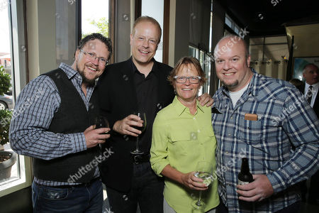 Stock Picture of Director Kris Pearn, Producer Kirk Bodyfelt, Producer Pam Marsden and Director Cody Cameron seen at the after party of the Columbia Pictures and Sony Pictures Animation premiere of 'Cloudy with a Chance of Meatballs 2' held at the Regency Village Theatre on Saturday, Sept, 21, 2013 in Los Angeles
