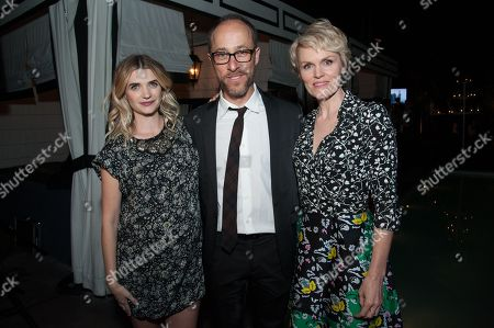 """Megan Ferguson, from left, Executive Producer/ Writer/ Showrunner Ben Wexler, and Stephnie Weir attend the After Party for the LA Premiere of FX's """"The Comedians"""", in Santa Monica, Calif"""