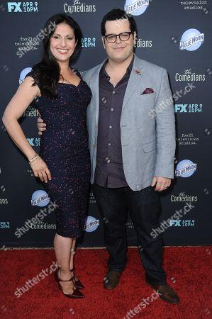"""Ida Darvish, left, and Josh Gad arrive at the LA Premiere of FX's """"The Comedians"""", in Santa Monica, Calif"""