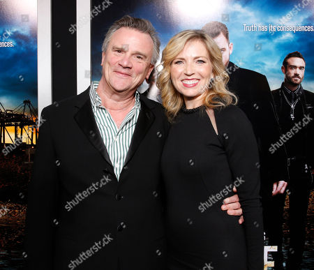 """Producer Nick Hamm and Vice President and General Manager of Audience Network Patty Ishimoto arrives at the LA premiere of """"Rogue"""" at the ArcLight Hollywood on in Los Angeles"""