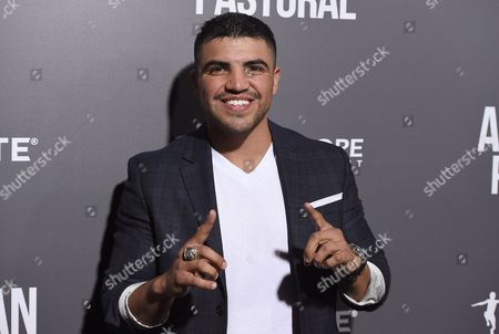 """Victor Ortiz arrives at a special screening of """"American Pastoral"""" at the Samuel Goldwyn Theater, in Beverly Hills, Calif"""