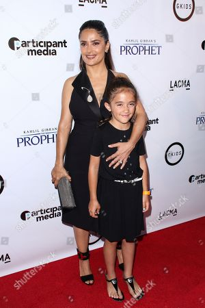 "Salma Hayek Pinault, left, and daughter Valentina Paloma Pinault attend the LA Special Screening of ""Kahlil Gibran's The Prophet"" held at LACMA's Bing Theatre, in Los Angeles"