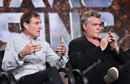 "Director Roland Joffe, left, and Ray Liotta, of History's ""Texas Rising"", speak on stage at the Lifetime, A&E, and History winter TCA panel at the Langham Hotel, in Pasadena, Calif"