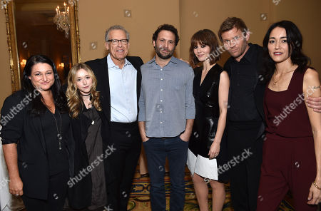 """Executive producer Raelle Tucker, from left, India Ennenga, executive producer Carlton Cuse, Jeremy Sisto, Mary Elizabeth Winstead, Mark Pellegrino and Sandrine Holt, of A&E's """"The Returned"""", pose backstage at the Lifetime, A&E, and History winter TCA panel at the Langham Hotel, in Pasadena, Calif"""