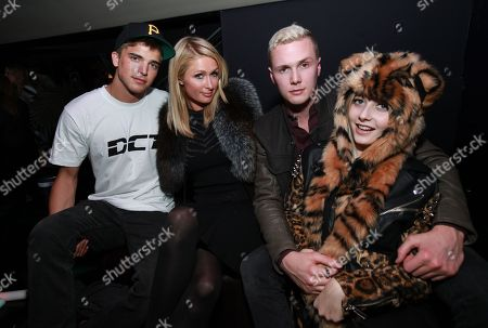 From left, River Viiperi, Paris Hilton, Ben Hilton, and Vanessa Dubasso attend Park City Live Day 3, in Park City, Utah