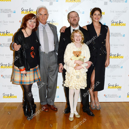 Claire Stewart, Terence Stamp, Paul Andrew Williams, Orla Hill, Gemma Arterton poses at London Film Festival The Mayfair Hotel Gala - Song for Marion at Odeon West End on in London