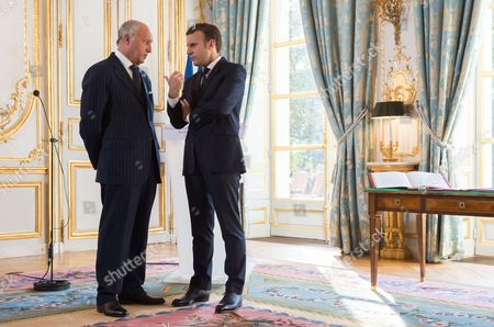 Laurent Fabius and Emmanuel Macron