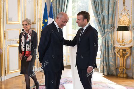 Dominique Lottin, Laurent Fabius and Emmanuel Macron