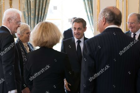 Former Prime Minister Lionel Jospin, Corinne Luquiens, Former French President Nicolas Sarkozy and Michel Pinault and back Laurent Fabius