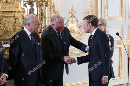Laurent Fabius, French President of the Senate Gerard Larcher and French President Emmanuel Macron