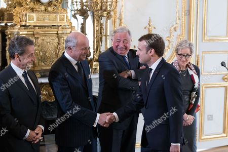 Former French President Nicolas Sarkozy,, Laurent Fabius, Gerard Larcher, Emmanuel Macron and Dominique Lottin