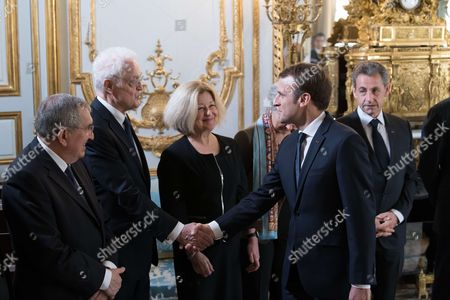 Jean-Jacques Hyest, Former Prime Minister Lionel Jospin, Nicole Maestracci, French President Emmanuel Macron and Former French President Nicolas Sarkozy