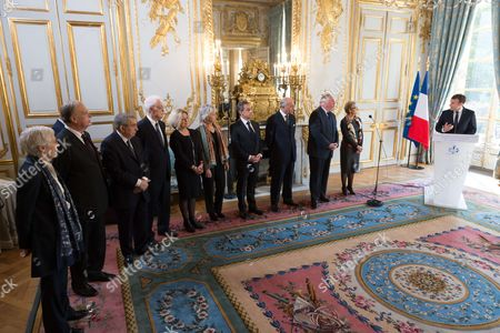 Corinne Luquiens, Michel Pinault, Jean-Jacques Hyest, Former Prime Minister Lionel Jospin, Nicole Maestracci, Claire Bazy Malaurie, Former French President Nicolas Sarkozy, Laurent Fabius, Gerard Larcher, Dominique Lottin and French President Emmanuel Macron