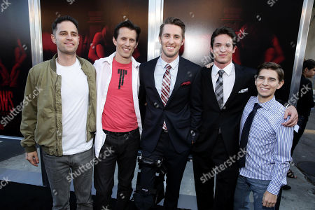 """Producer Dean Schnider, Writer/Director/Producer Travis Cluff, Ryan Shoos, Reese Mishler and Writer/Director/Producer Chris Lofing seen at the Los Angeles Premiere of New Line Cinema """"The Gallows"""" held at Hollywood High School on"""