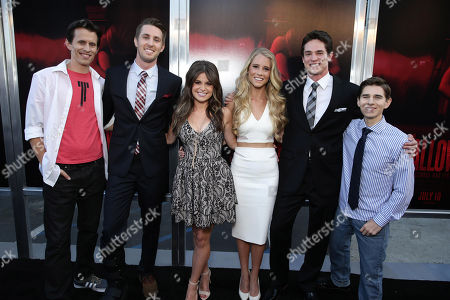 """Writer/Director/Producer Travis Cluff, Ryan Shoos, Pfeifer Brown, Cassidy Gifford, Reese Mishler and Writer/Director/Producer Chris Lofing seen at the Los Angeles Premiere of New Line Cinema """"The Gallows"""" held at Hollywood High School on"""