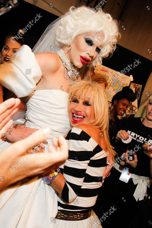 Sharon Needles, left, and Betsey Johnson pose at MBFW Spring/Summer 2015 - Betsey Johnson at Lincoln Center on in New York