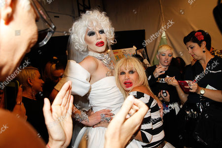 Sharon Needles and Betsey Johnson seen at MBFW Spring/Summer 2015 - Betsey Johnson at Lincoln Center on in New York
