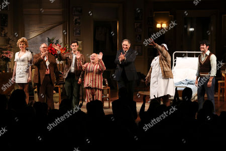 """From left, cast members Annie Abrams, Gibby Brand, Justin Bartha, Danny DeVito, Judd Hirsch, Johnnie Fiori and Matthew Bohrer take their bows at the curtain call for the opening night performance of Neil Simon's """"The Sunshine Boys"""" at Center Theatre Group/Ahmanson Theatre, in Los Angeles, Calif"""